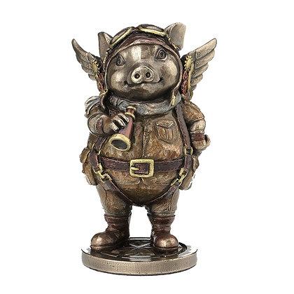 Porcus Machina Steampunk Pilot Pig Ornament - 13.5cm