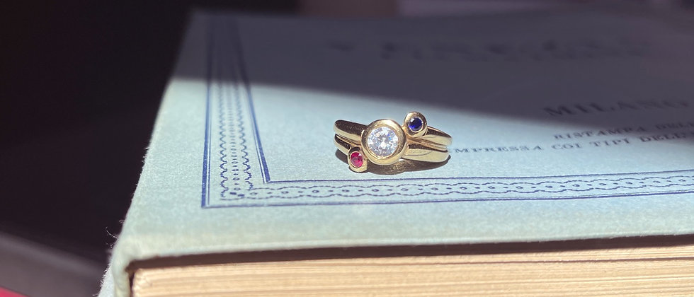 18kt Goldplated ring with three diagonal stones
