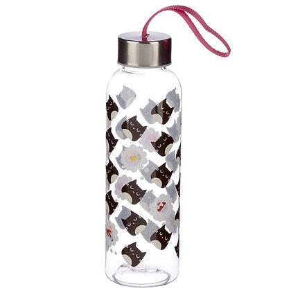 Reusable Plastic Water Bottle With Metal Lid - Feline Fine Cat Design