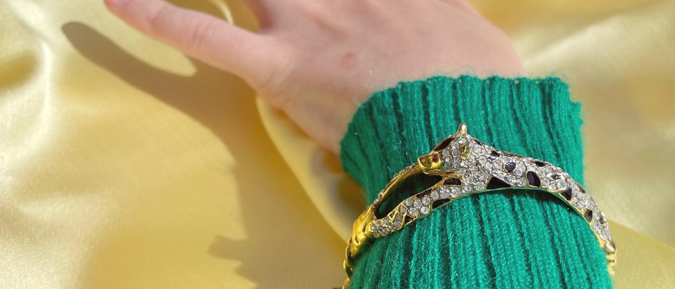 Wild glittery jaguar bracelet