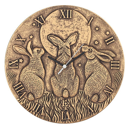 Bronze Effect Moon Shadows Hare Wall Clock - Lisa Parker