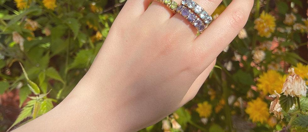 Gold-plated semi precious stones ring (peridots, topaz, iolites)