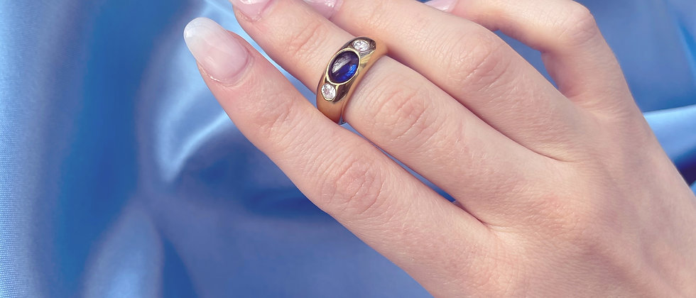 18kt gold-plated silver ring with a blue stone
