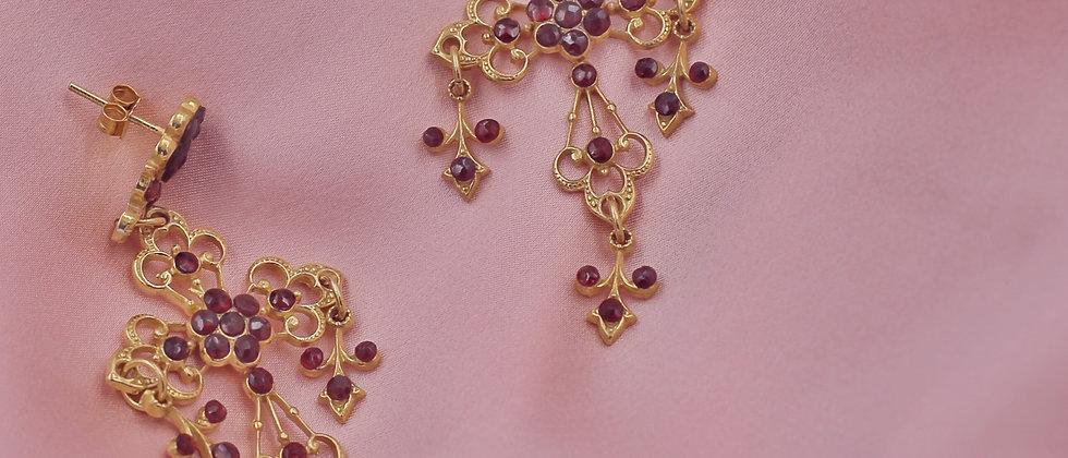 Garnet crosses earrings