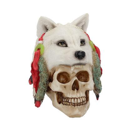 Small Spirit Hunter Wolf Skull Ornament 17cm