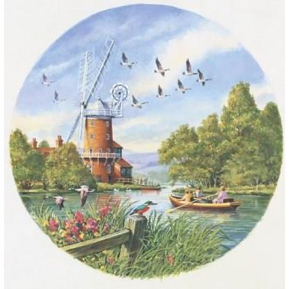 Windmill On The River 500 Piece Circular Jigsaw Puzzle