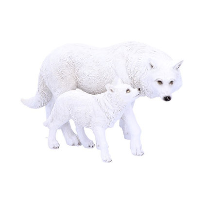 Winter Offspring Mother and Wolf Pup Ornament - 27.5cm