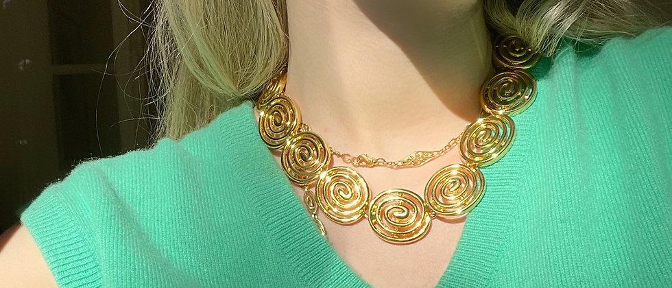 Golden chunky spirals necklace