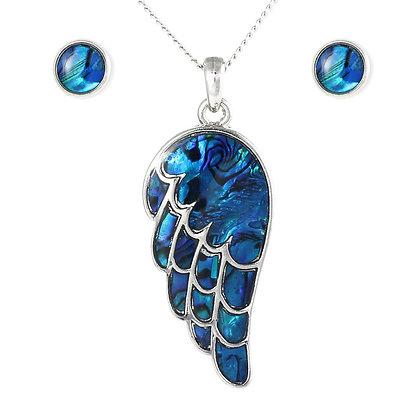 Angel Wing Pendant & Stud Earrings Paua Shell Set
