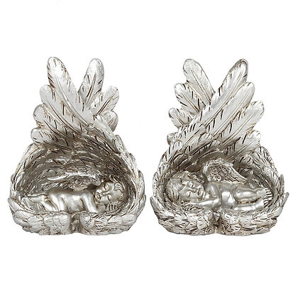Antique Silver Sleeping Cherubs - Set of 2