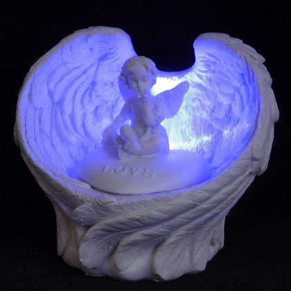 LED Angel Wings Cherub Stone Ornament - Love