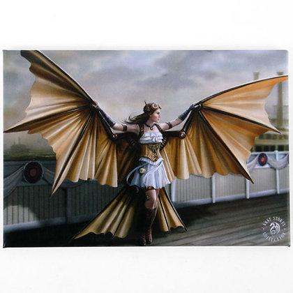 The Aviator Steampunk Angel Fridge Magnet - Anne Stokes