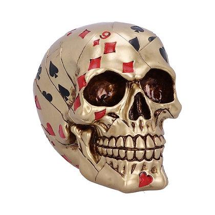 Dead Man's Hand Gold Skull Ornament - 15cm