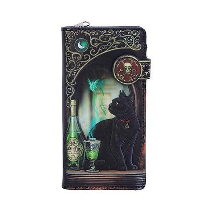 Absinthe Black Cat Embossed Purse 18.5cm - Lisa Parker