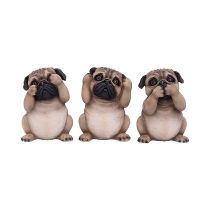 Three Wise Pug Dog Ornaments - 8.5cm