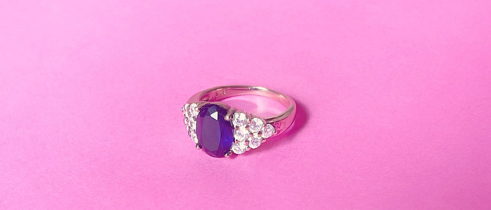 18kt Goldplated silver blue stunning ring