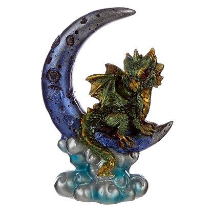 Elements Green Baby Dragon Moon Watcher Ornament - 11cm