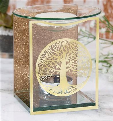 Gold Tree of Life Glass Oil Burner