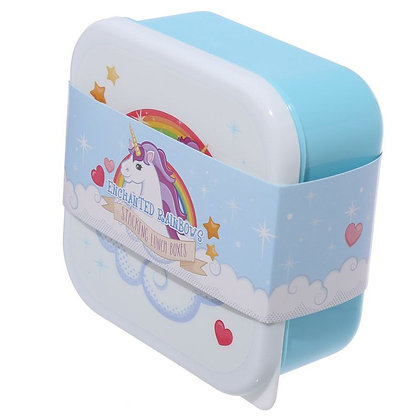 Set of 3 Lunch Boxes - Enchanted Rainbow Unicorn Design