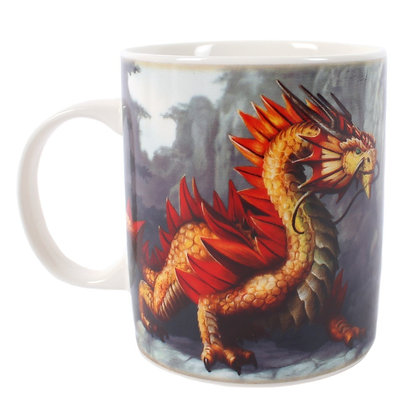 Golden Mountain Dragon Ceramic Mug - Anne Stokes