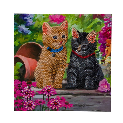 Cat Friends Crystal Art Card Kit