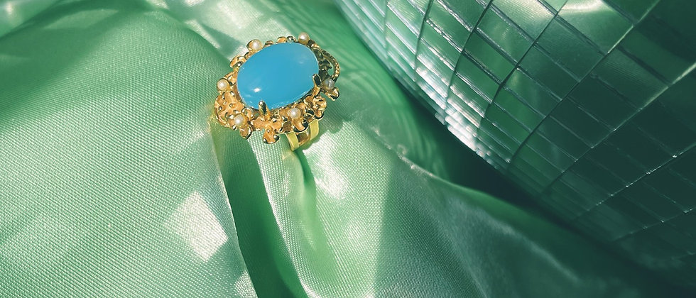Baby blue chalcedonybaroque style ring