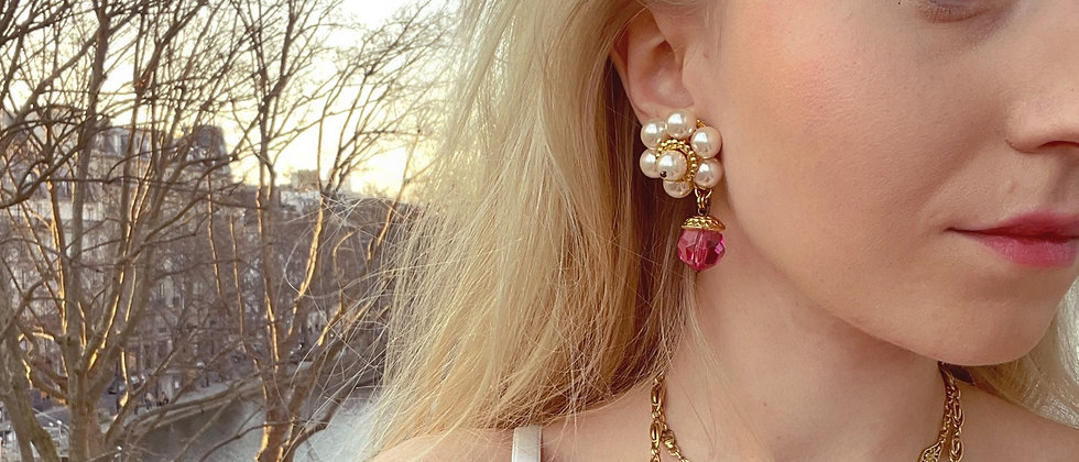 Floral pearly and pink clips