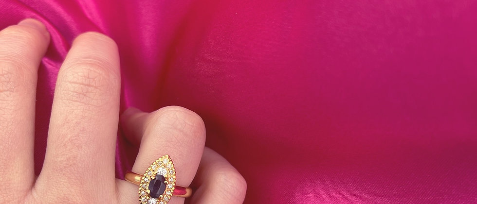18kt gold-plated mini marquise ring