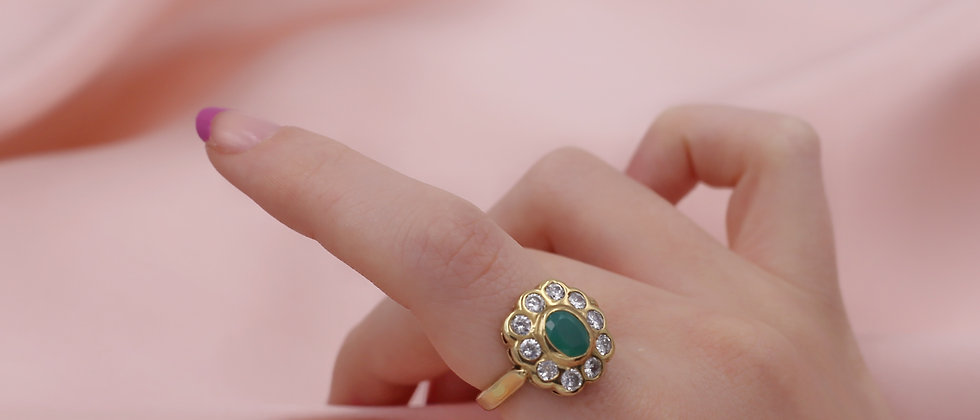 18kt gold-plated green flower ring t.53