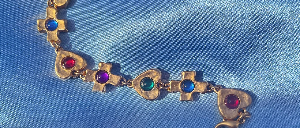 colorful crosses and hearts bracelet