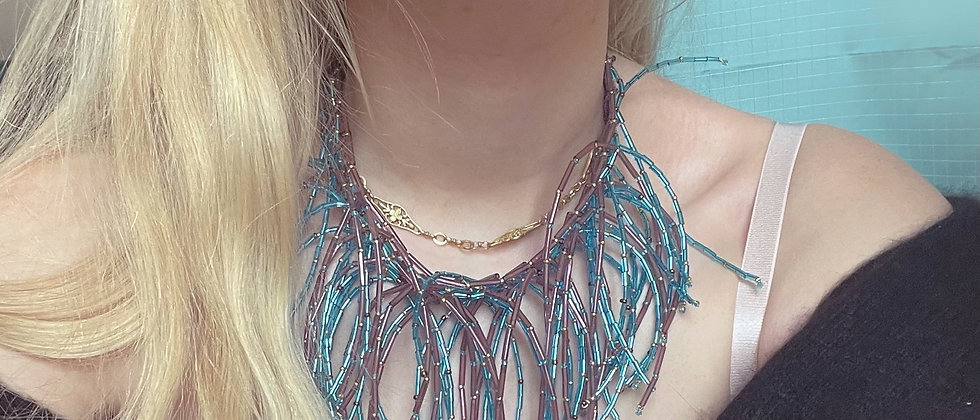 Rare glass feathers necklace