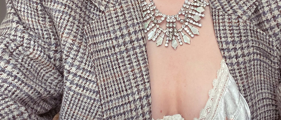 Fancy mother of pearl and rhinestones necklace