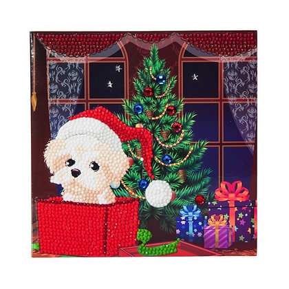 Puppy For Christmas Crystal Art Card Kit