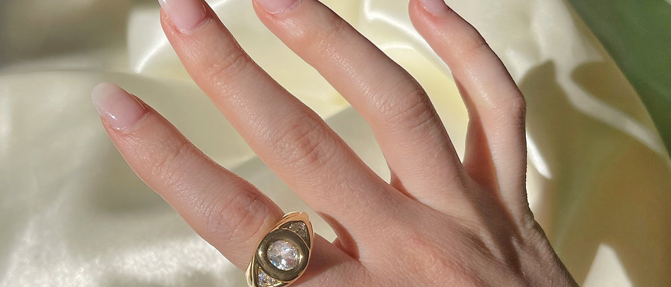18kt Goldplated white stone ring