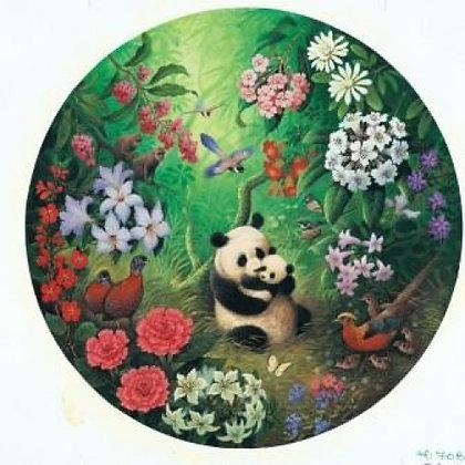 Jungle Panda 500 Piece Circular Jigsaw Puzzle