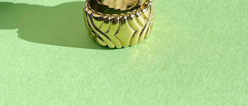 Chunky 18kt gold plated silver ring
