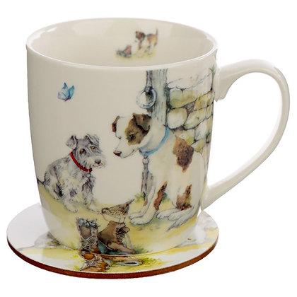Jan Pashley Dogs Porcelain Mug and Coaster Set