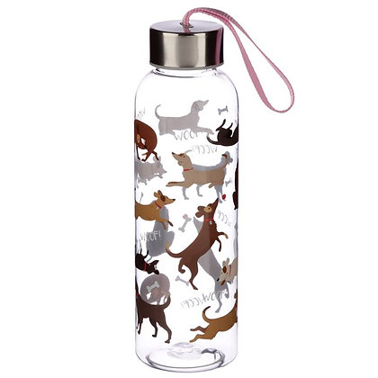 Reusable Plastic Water Bottle With Metal Lid - Catch Patch Dog Design