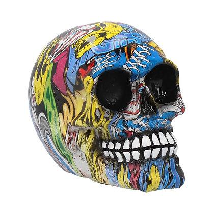 Graffiti Skull Ornament 11cm