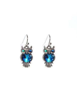 Ornate Owl Paua Shell Drop Earrings
