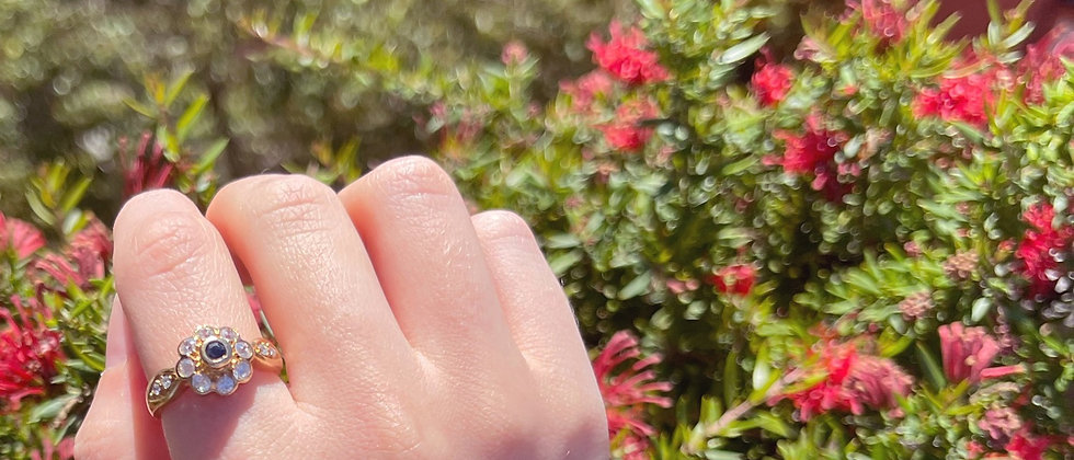 18kt gold-plated shining marguerite ring
