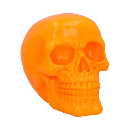 Psychedelic Fluorescent Orange Skull Ornament - 15.5cm