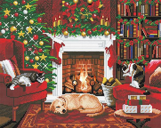 Pets By The Fireplace LED Crystal Art Kit