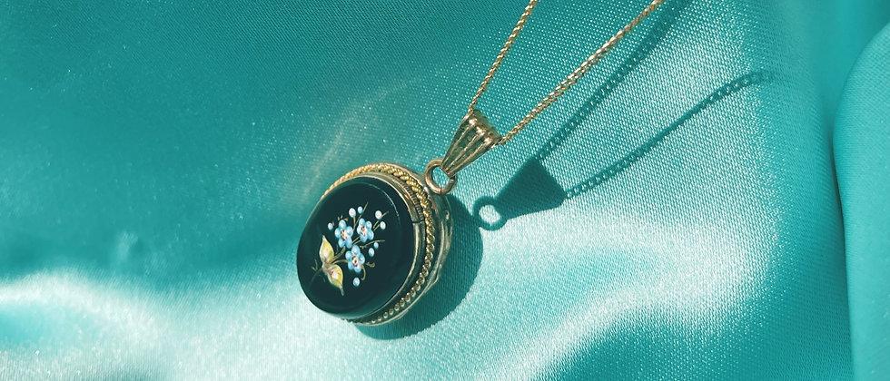 Lovely 19th c. floral locket pendant