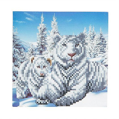 White Tigers Crystal Art Card Kit