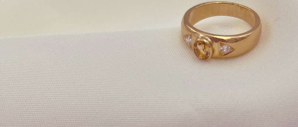 18kt gold-plated yellow stone ring