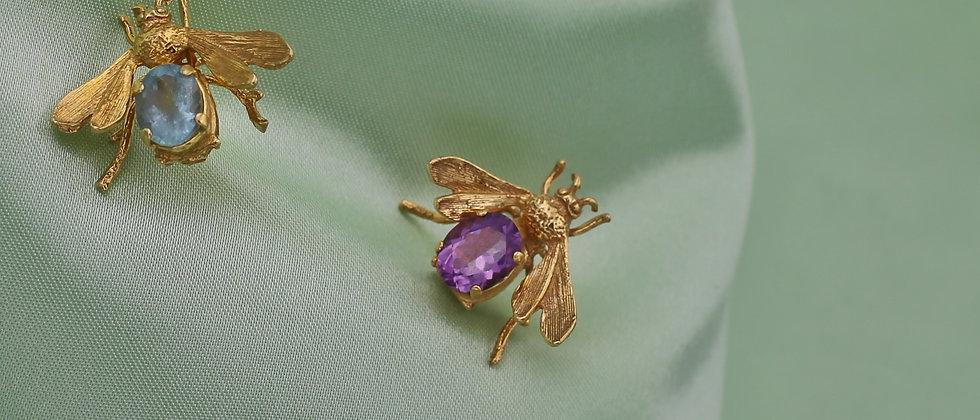 Amethyst or aquamarine bee brooch