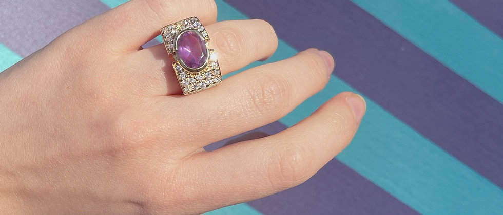 18kt gold-plated silver purple ring