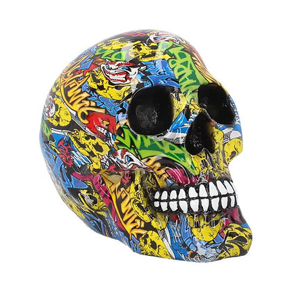 Graffiti Skull Ornament 19cm