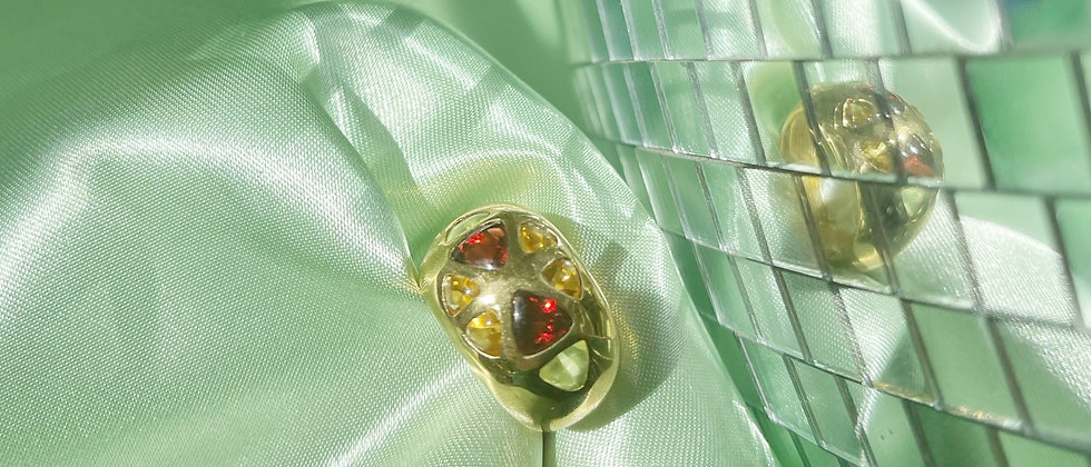 18kt gold-plated colorful design ring